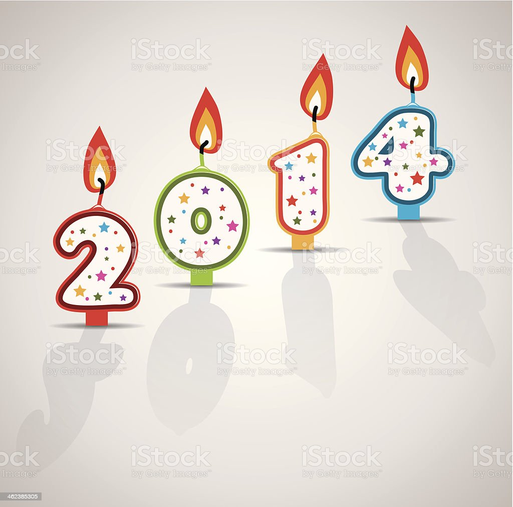 vector new year 2014 card with burning candles vector art illustration