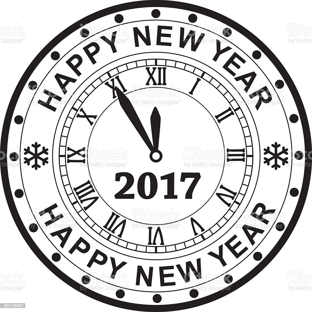 vector new year 2017 rubber stamp design with a clock