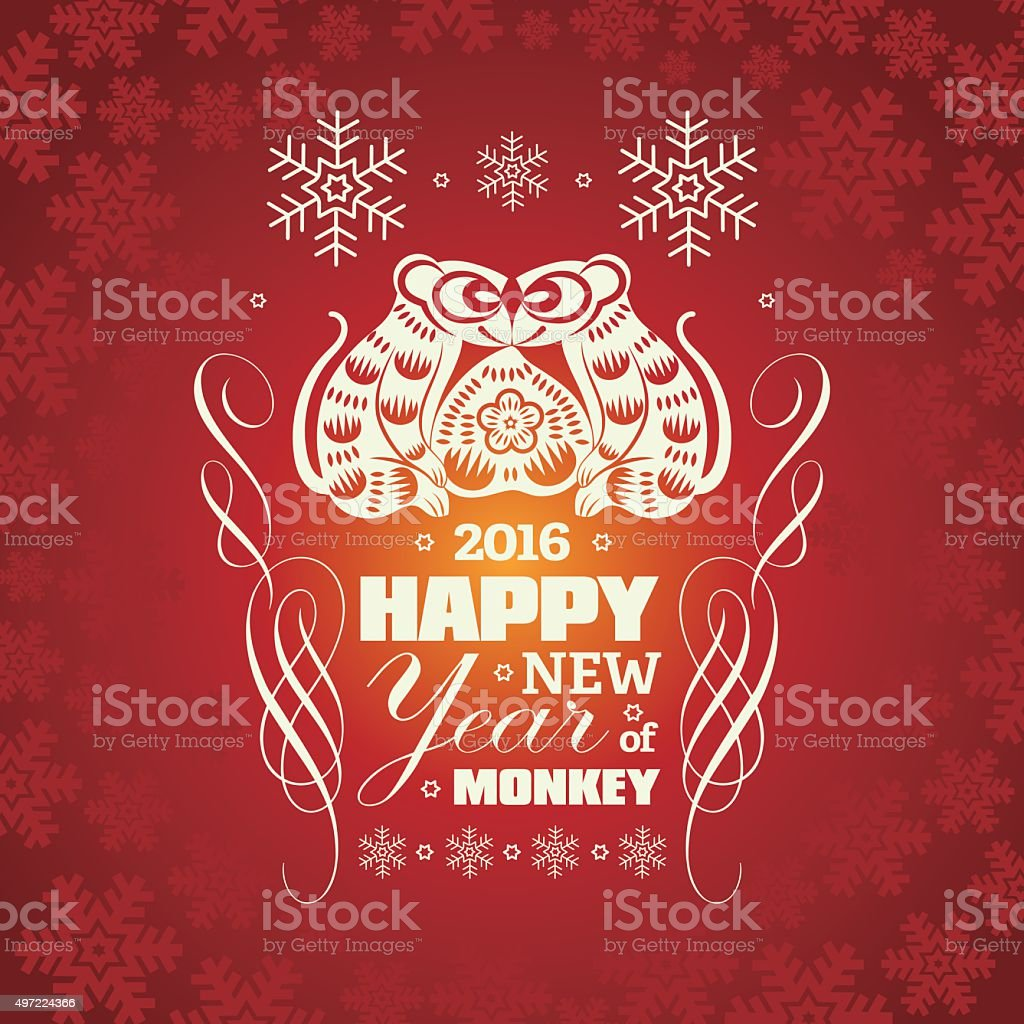 2016 Vector New Year Greeting Card Background With Paper Cut Stock
