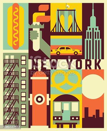 Vector New York background, icon set