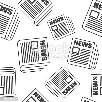 Vector news icon. Newspaper news pattern on a white background. Layers grouped for easy editing illustration. For your design