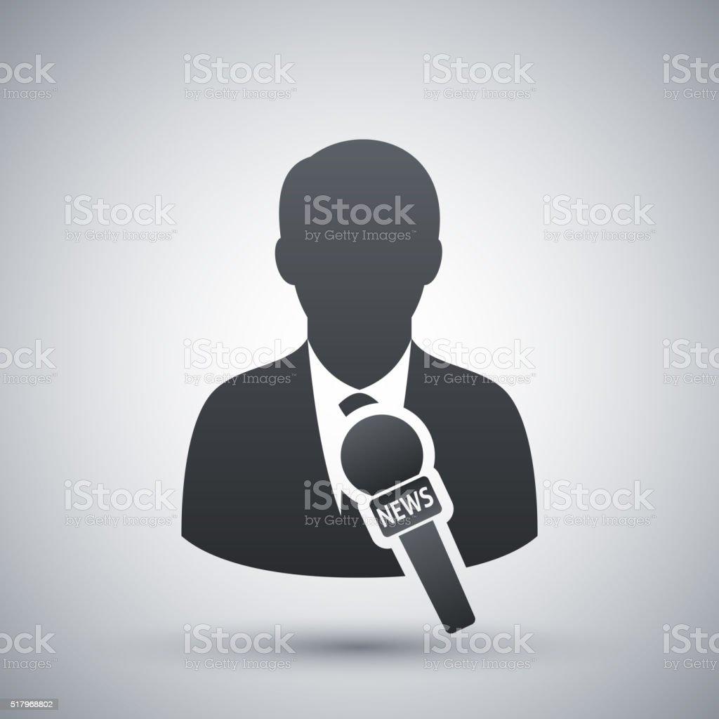 Vector news reporter icon vector art illustration