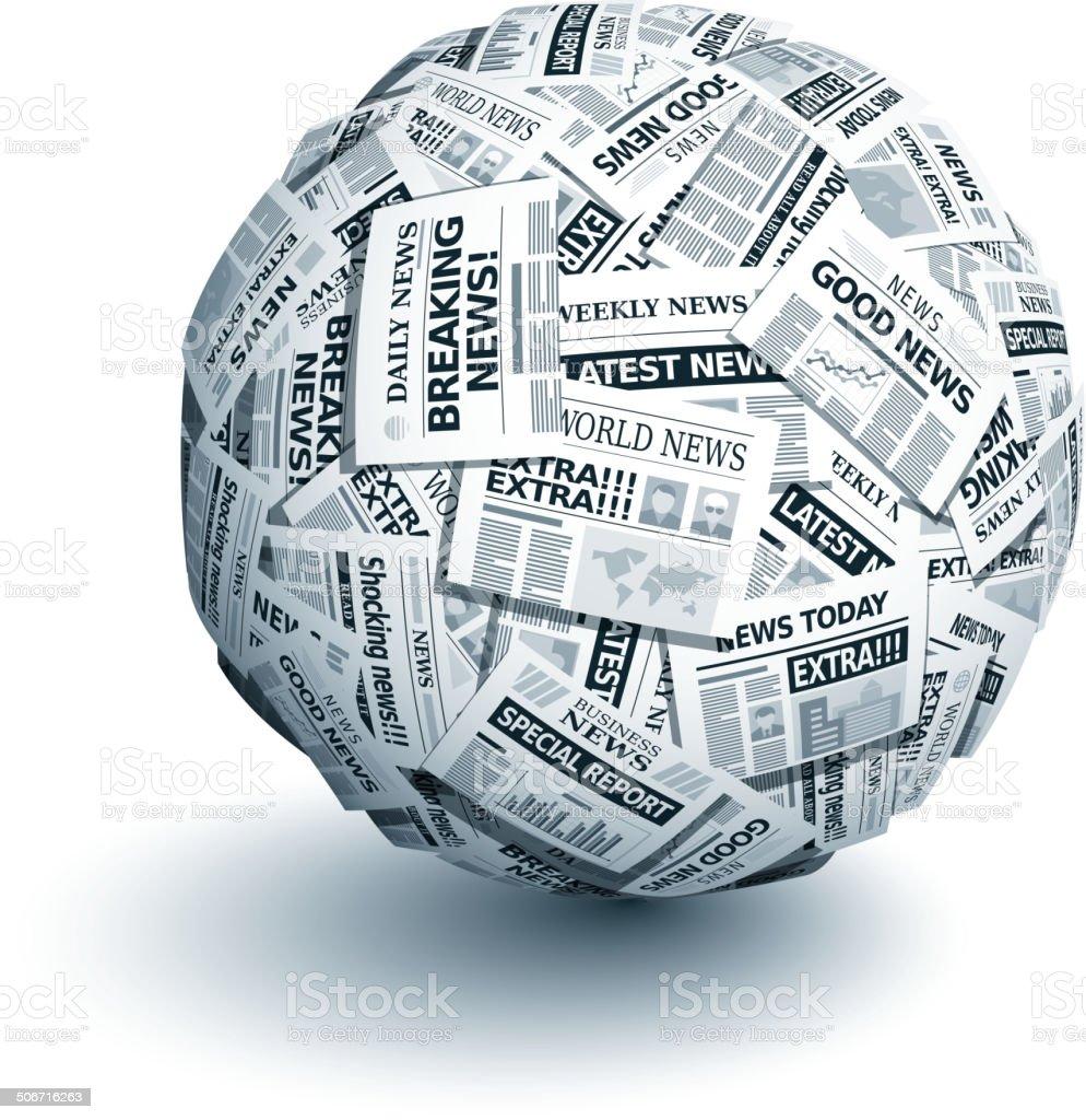 Vector newspaper ball vector art illustration