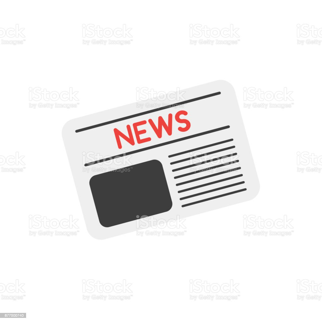Vector newspaper on white with flat design style vector art illustration