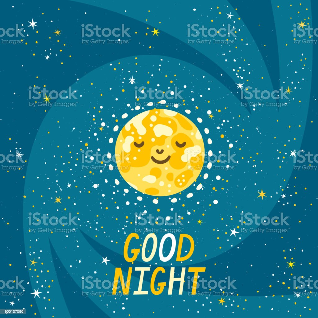 Vector Night Background With Moon Stars And Hand Written Text Good
