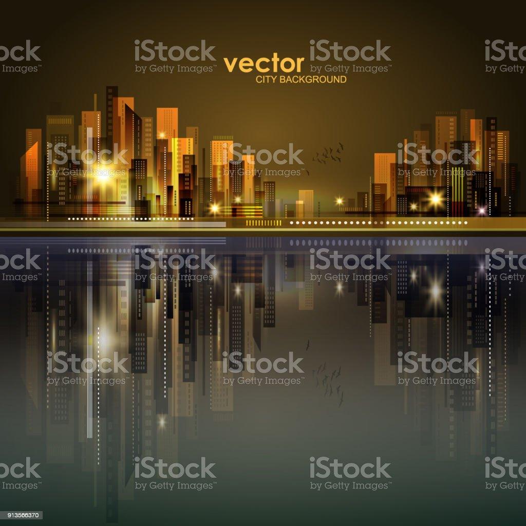 Vector night city illustration with neon glow vector art illustration