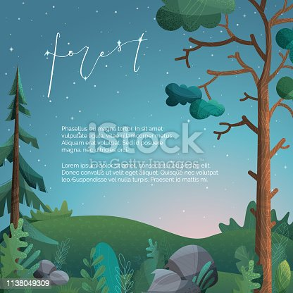 Pine, fir, stones and grass are on hills. Flat background with modern noise texture.