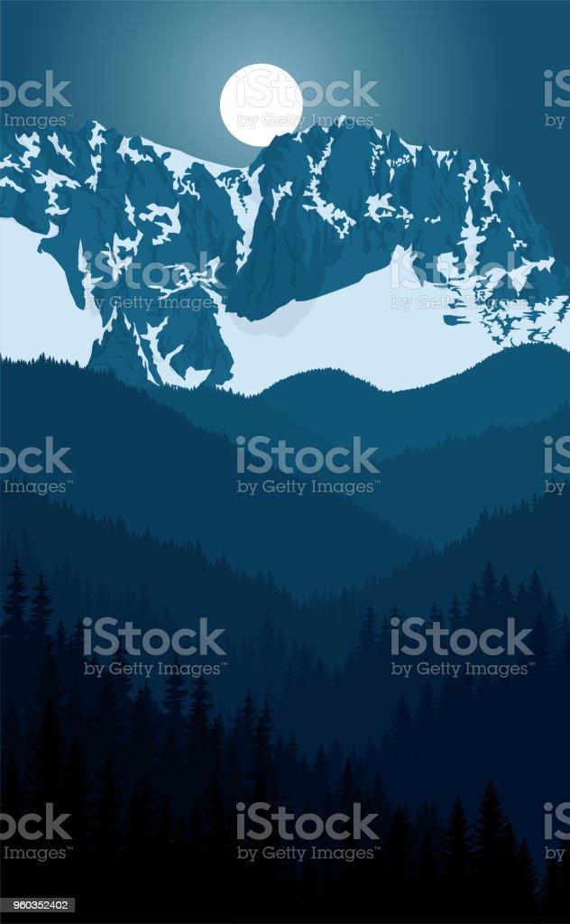vector night in alps mountain landscape vector art illustration