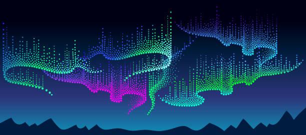 illustrazioni stock, clip art, cartoni animati e icone di tendenza di vector night landscape with dotted swirls of aurora borealis lights in dotwork style on the dark background for space or galaxy design. - aurora boreale