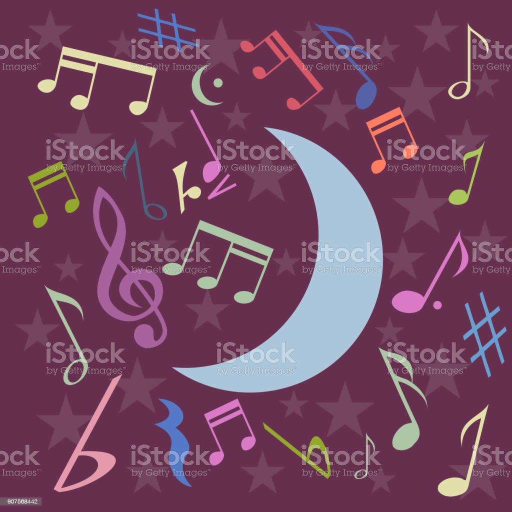 Vector night music background in flat design vector art illustration