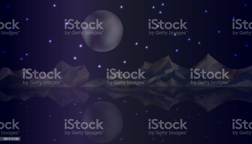 Vector night nature landscape with mountains and lake vector art illustration