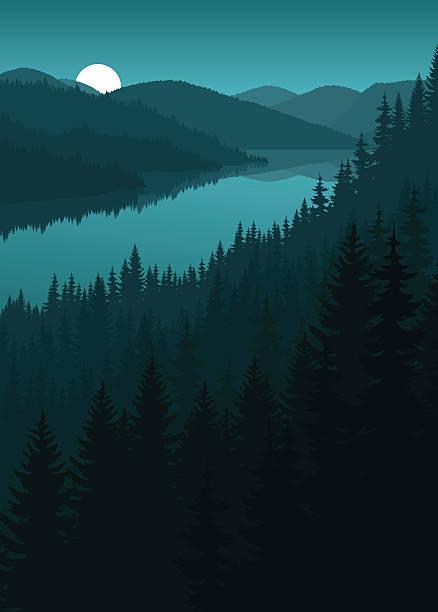 illustrazioni stock, clip art, cartoni animati e icone di tendenza di vector night river in mountains - fiordi