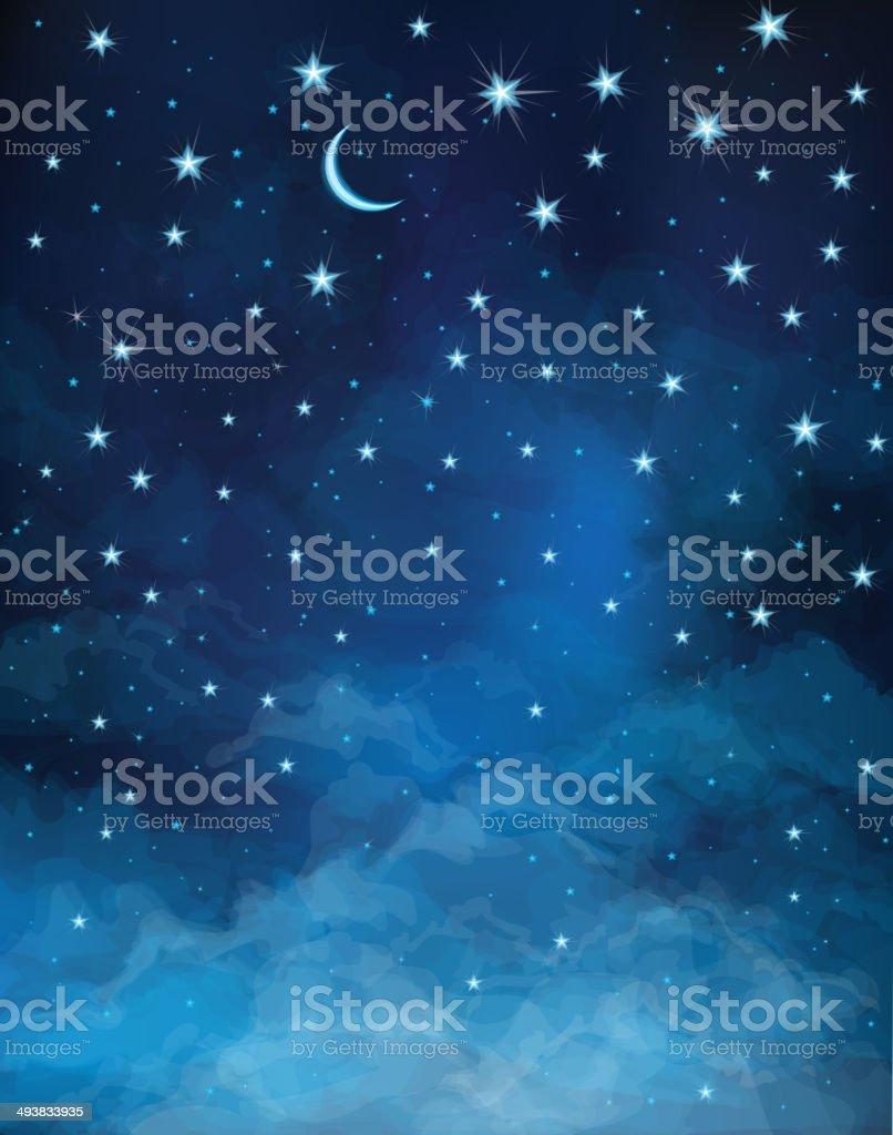 Vector night starry sky. vector art illustration