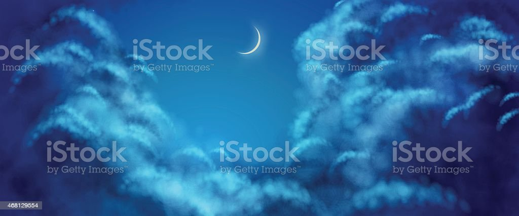 Vector Nightly Clouds vector art illustration