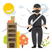 Vector Ninja. Flat style colorful Cartoon illustration.
