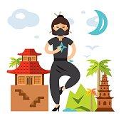 Vector Ninja Girl. Flat style colorful Cartoon illustration.