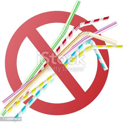 istock Vector no to plastic straw concept in cross circle 1148969645