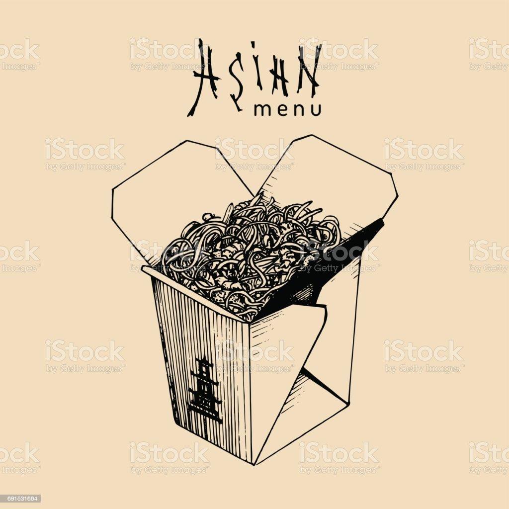Nudeln Box Vektorgrafik Wok Mit Asiatischen Menütext Chinesische ...