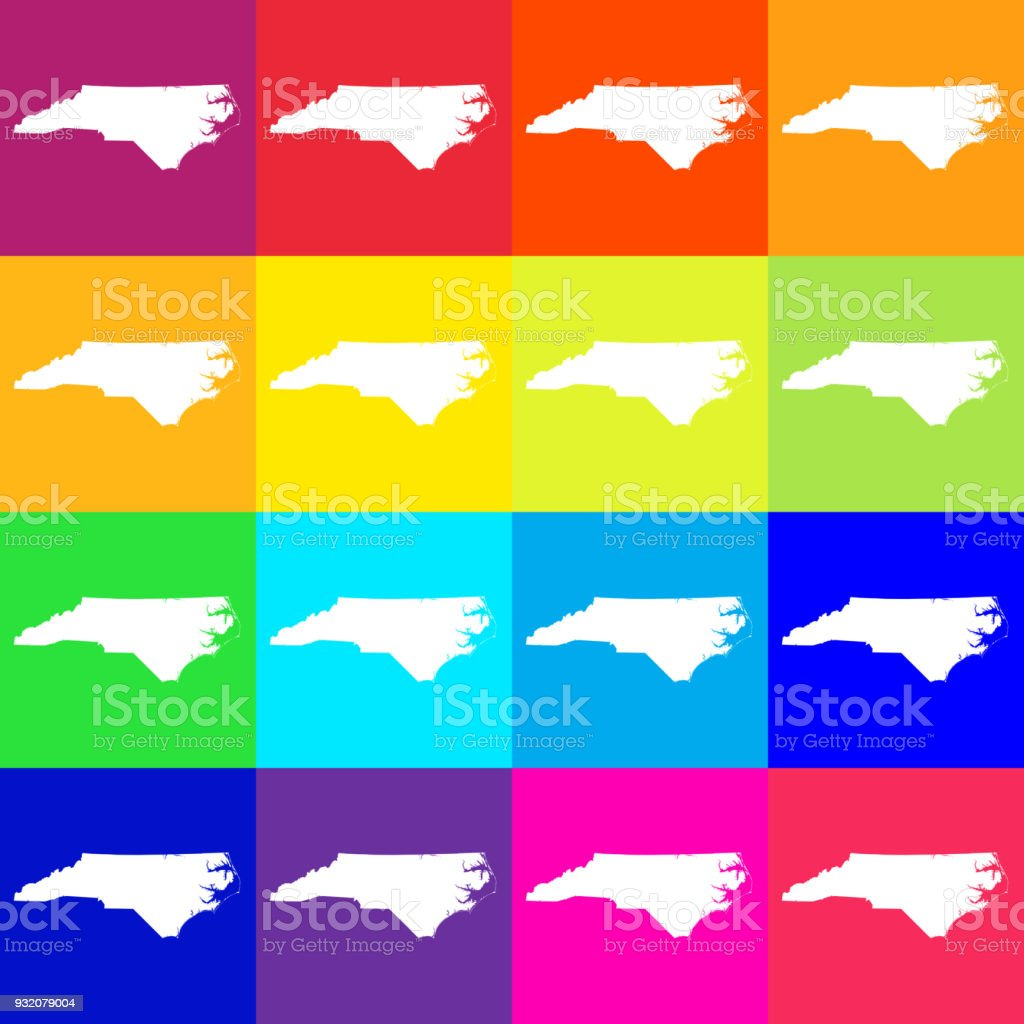 vector north carolina usa map in bright colors stock vector art vector north carolina usa map