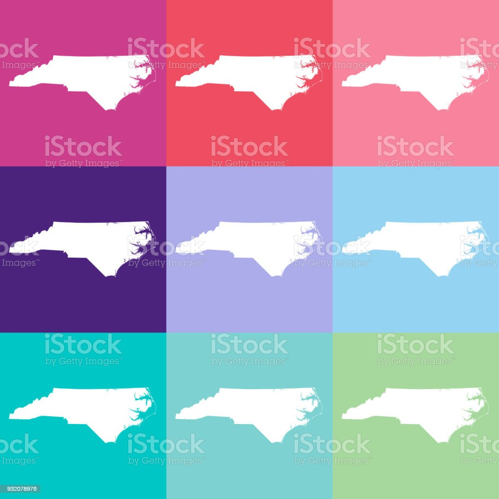 Vector North Carolina Usa Map In Cool Colors Stock ...