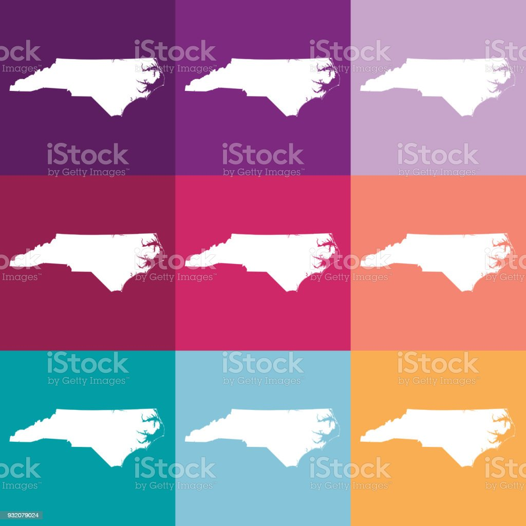 Vector North Carolina Usa Map In Muted Colors Stock Vector Art ...