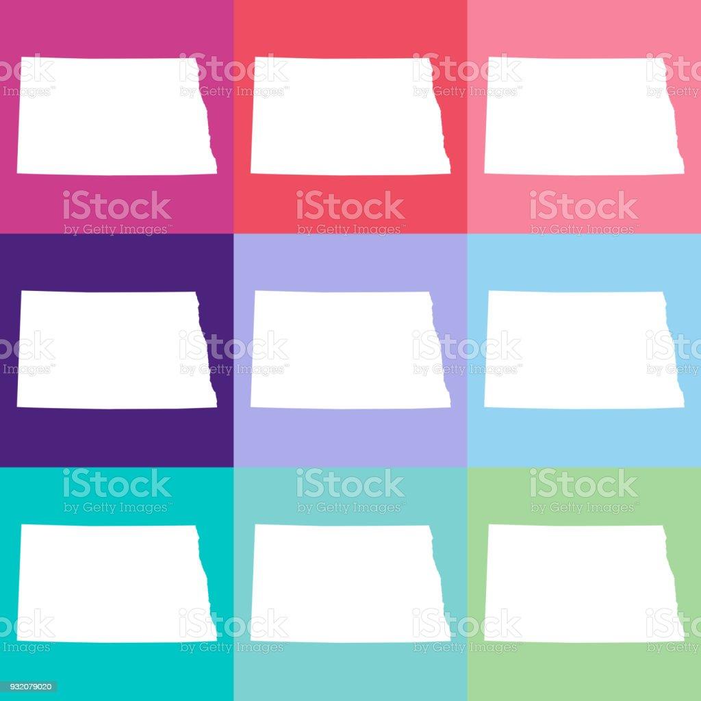 Vector North Dakota Usa Map In Cool Colors Stock Vector Art & More ...