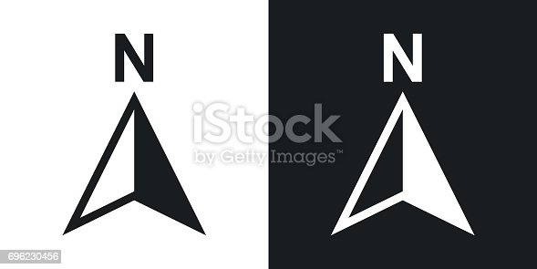 istock Vector north direction compass icon. Two-tone version 696230456
