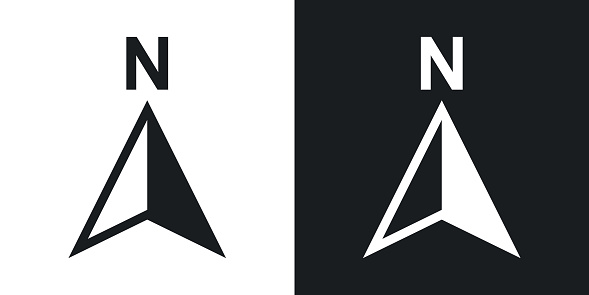 Vector north direction compass icon. Two-tone version on black and white background