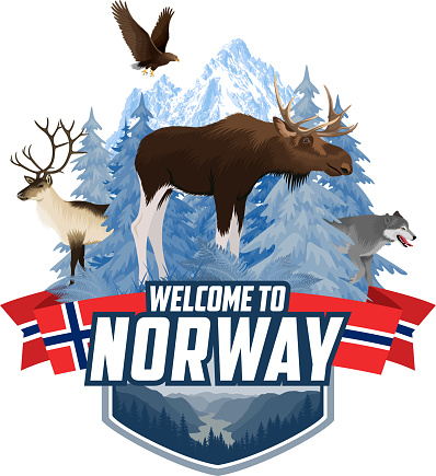 Vector Norway mountains forest emblem with moose, raindeer, wolf and  white-tailed eagle