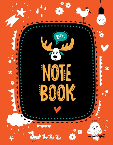 Vector note book cover with cute animals and elements decorated