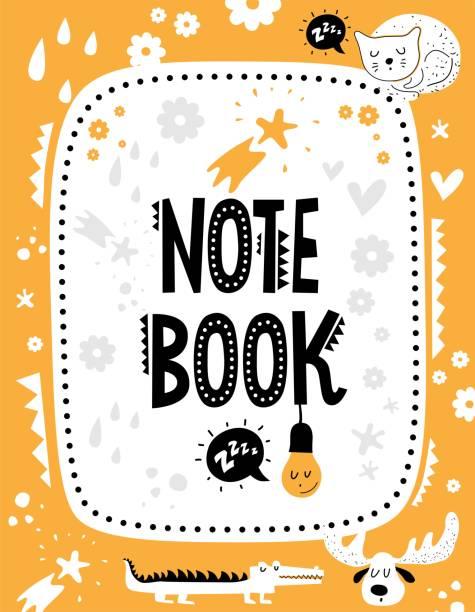 Vektor-Hinweis-Buch-Cover mit niedlichen Tieren und Elementen dekoriert – Vektorgrafik
