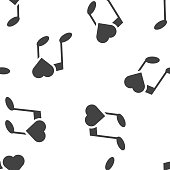 istock Vector note icon and heart icon. Favorite melody seamless pattern on a white background. 1213035168