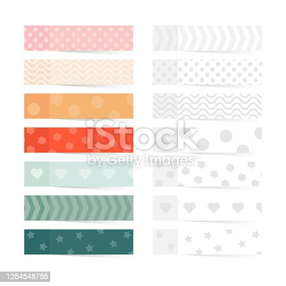 istock Vector Note stickers isolated on white background. Post paper sticky tape set with patterns 1254548755