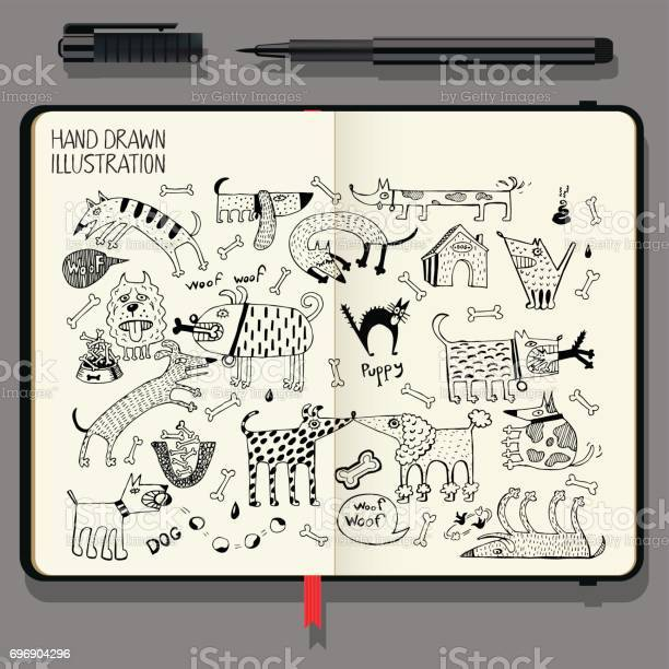 Vector notebook with fine liner pen and hand drawn doodles funny dogs vector id696904296?b=1&k=6&m=696904296&s=612x612&h=3a xhqs7tkepimc gsxdlub xwmuowxyfwpyx2gfxqy=