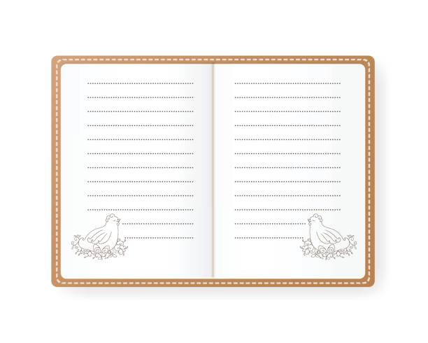 vector notebook with hen with eggs. the beige cover. - composition notebook cover stock illustrations, clip art, cartoons, & icons