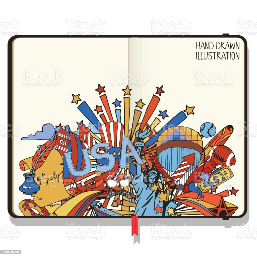 Vector Notebook With Shadows And Hand Drawn Doodles American