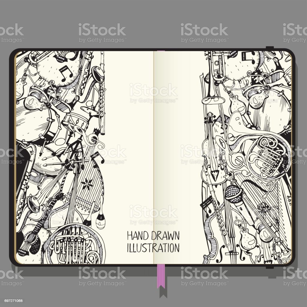 Vector Notebook with Shadows and Hand Drawn Doodles. Collection of Music Instruments. Music and Recreation Time Concept. vector art illustration