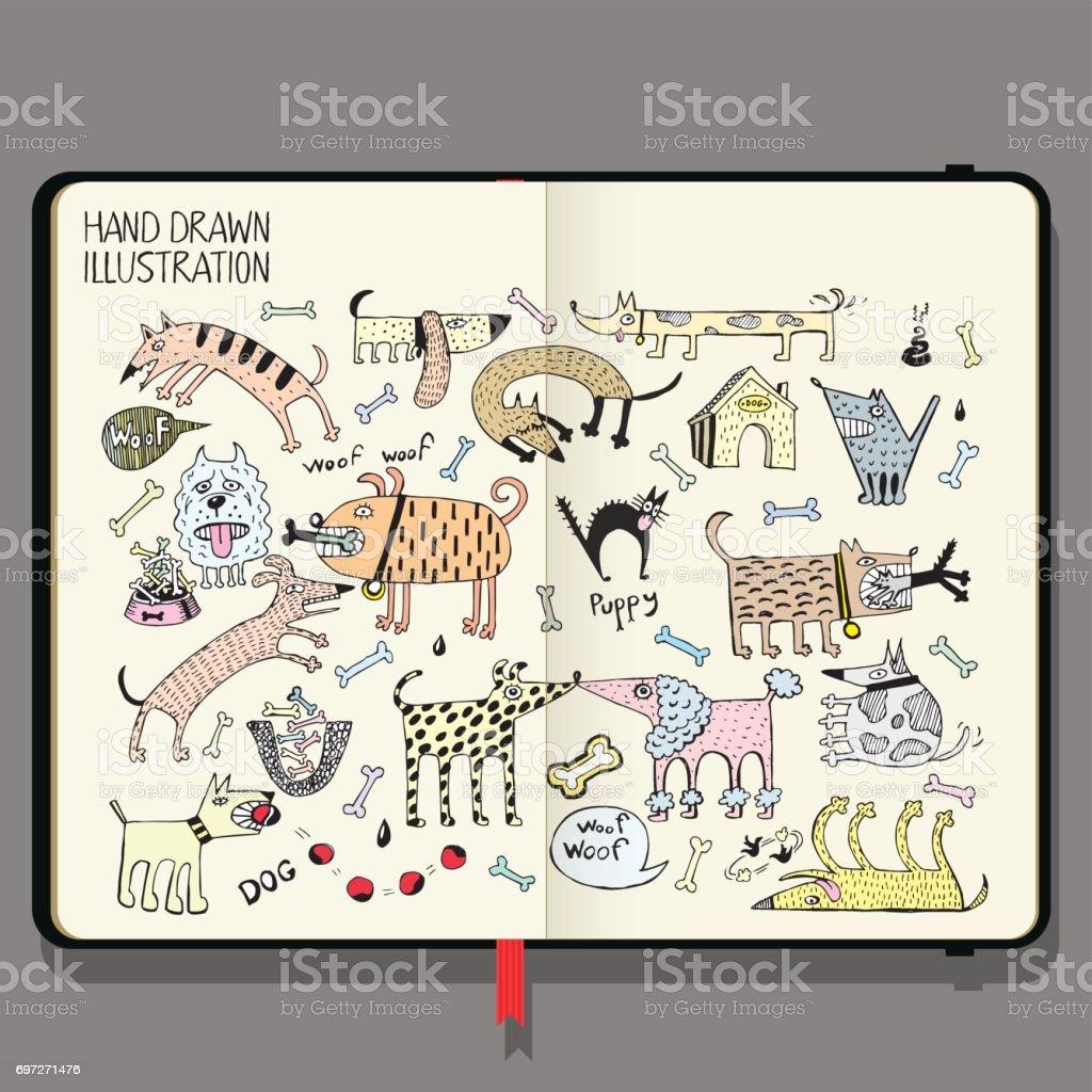 手描き落書きの影とベクトル ノートブック。面白い犬を設定します。 ベクターアートイラスト