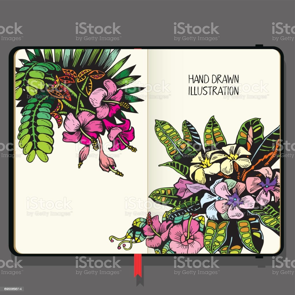 Vector Notebook with Tropical Background with Exotic Flowers and Leaf. Hand Drawn Doodles. vector art illustration