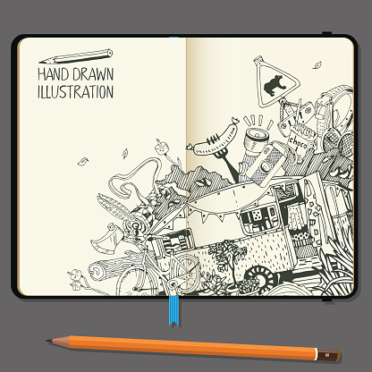 Vector Notebooks with Pencil and Hand Drawn Doodles. Adventure Camping Objects. Travel and Recreation Time Concept.