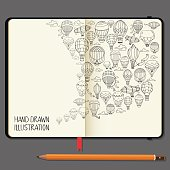 Vector Notebooks with Pencil and Hand Drawn Doodles. Different Hot Air Balloons Elements. Travel and Recreation Time Concept.