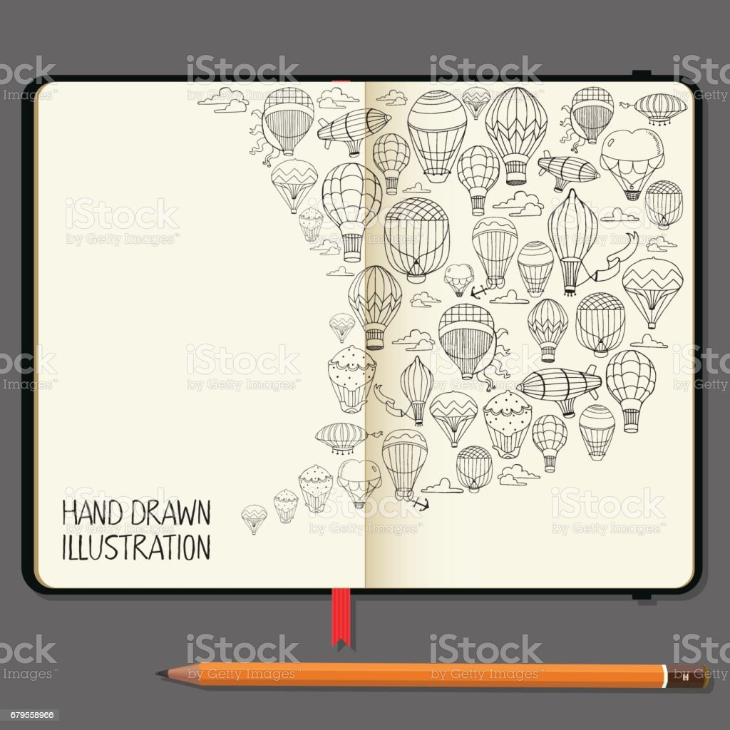 Vector Notebooks with Pencil and Hand Drawn Doodles. Different Hot Air Balloons Elements. Travel and Recreation Time Concept. vector art illustration