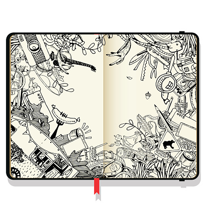 Vector Notebooks with Shadows and Hand Drawn Doodles. Adventure Camping Objects. Travel and Recreation Time Concept.