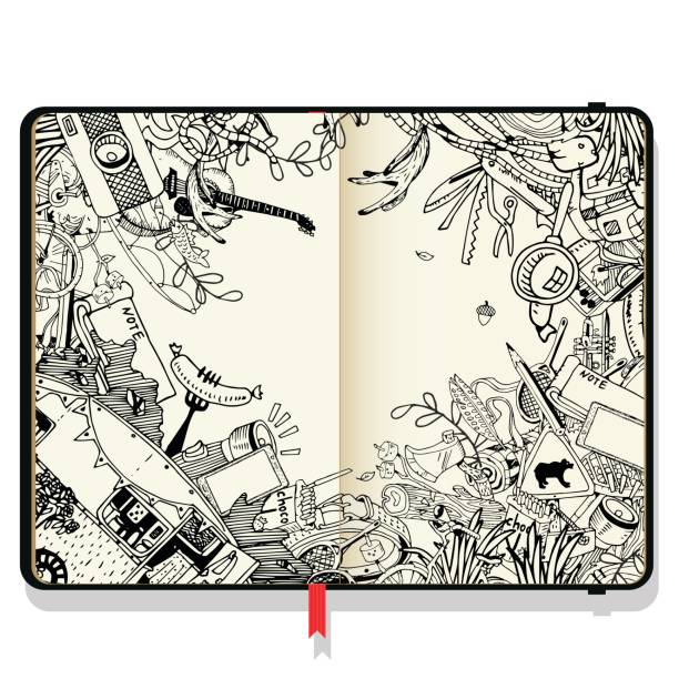 Vector Notebooks with Shadows and Hand Drawn Doodles. Adventure Camping Objects. Travel and Recreation Time Concept. vector art illustration