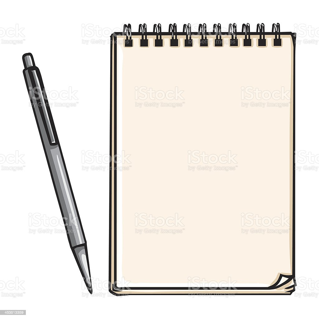 vector notepad and pen royalty-free stock vector art