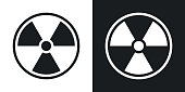 Vector nuclear sign or icon. Two-tone version