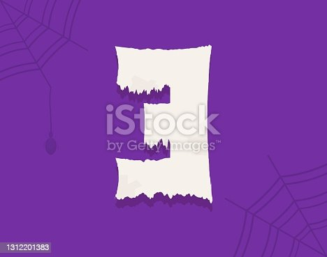 istock 3 vector number horror zombie, fairy ghost font 1312201383