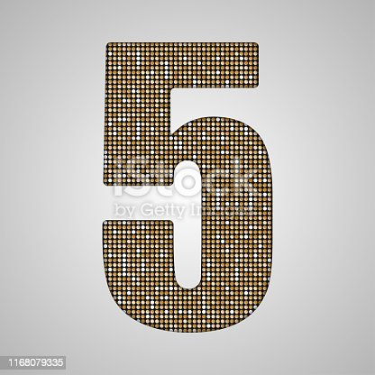 istock Vector number made gold sequin, glitter - 5. 1168079335