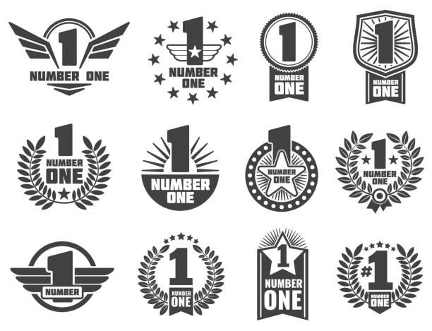 bildbanksillustrationer, clip art samt tecknat material och ikoner med vector nummer ett retro företagsidentitet etiketter - nummer 1