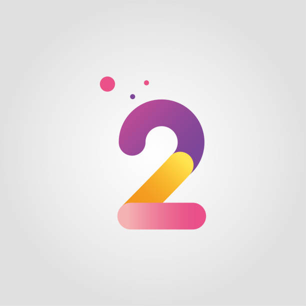 Vector number two logo design template with gradient color Vector illustration gezond stock illustrations